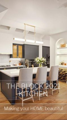 Off White Kitchens, Brass Kitchen, Eclectic Kitchen, Contemporary Kitchen Design, Butler Pantry, Breakfast Nook, The Hamptons, Table, House