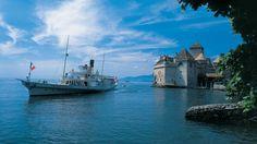 Chillon Castle - Water Castle on Lake Geneva - Switzerland Tourism Lake Geneva Switzerland, Switzerland Tourism, Vevey, Lausanne, Belle Epoque, Places Around The World, Around The Worlds, Honeymoon Spots, Excursion