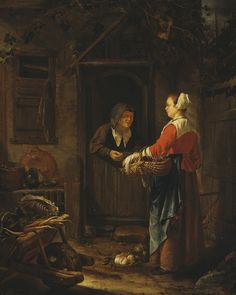 Frans van Mieris the Elder, A Girl Selling Grapes to an Old Woman, c.1658