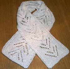 Knitting pattern for lacy scarf, made with Wool Ease on size 10 1/2 needles. 14 line pattern repeat.