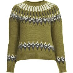 TOPSHOP Knitted Fairisle Yoke Jumper ($24) ❤ liked on Polyvore featuring tops, sweaters, topshop, olive, topshop sweaters, fairisle sweater, jumpers sweaters, topshop tops and fair isle sweater
