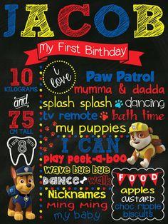 First (Any Year) Birthday Chalkboard Poster Paw Patrol Boy or Girl Customized 1st Birthday Chalk board Custom Printable Sign Blue Red Yellow