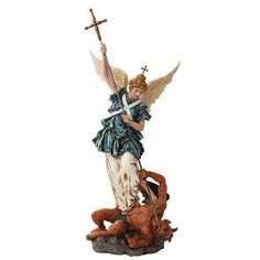 Amazon.com: 21 Inch Saint Michael Archangel Slaying Demon Statue Figurine: Home & Kitchen