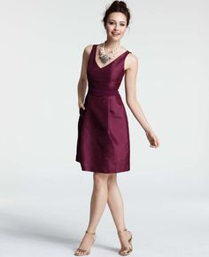 Silk Dupioni V-Neck Bridesmaid Dress from Ann Taylor - in Rich Pomegranate. Beautiful and classy