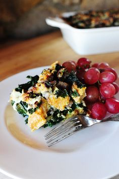 Sausage-Kale Breakfast Strata-  sounds delicious, and her recipe for sausage and kale soup is also awesome... this would be a good way to use the leftovers!