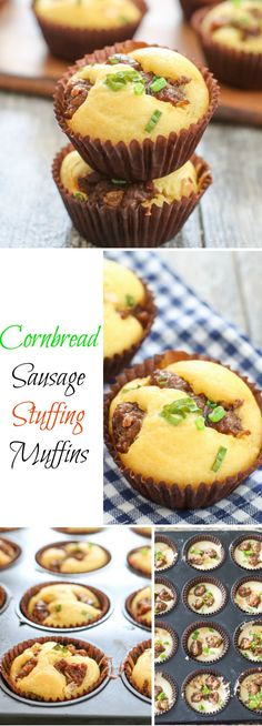 These moist cornbread muffins are filled with stuffing ingredients like sausage, onions, celery and scallions, for a very flavorful muffin. Out of all the Thanksgiving recipe ideas I've done this year, this is my favorite! Stuffing Muffins, Sausage Stuffing, Thanksgiving Recipes, Holiday Recipes, Thanksgiving 2017, Holiday Ideas, My Recipes, Cooking Recipes, Favorite Recipes