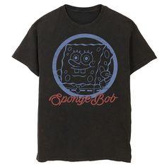 Men's Nickelodeon SpongeBob SquarePants Line Art Cursive Logo Portrait Graphic Tee, Size: XXL, Black