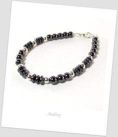 Men's Hematite and Silver Bracelet by Designed By Audrey on Etsy, $20.00