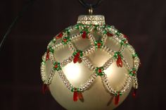 Hand Beaded Christmas Ornament by ThatWhiteDog on Etsy Beaded Ornament Covers, Beaded Ornaments, Handmade Ornaments, Diy Christmas Ornaments, Handmade Christmas, Christmas Tree Ornaments, Beaded Christmas Decorations, Christmas Cover, Christmas Jewelry