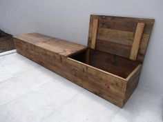 """""""Toftlund"""" timber storage bench with lid - . """"Toftlund"""" lumber storage bench with lid – PURE Wood Design Wooden Storage Bench, Lumber Storage, Wood Design, Diy Design, Wood Projects, Woodworking Projects, Palette Diy, Wooden Diy, Diy Wood"""