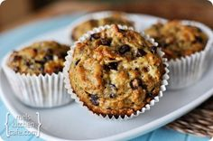 2 tablespoons butter, softened  1/3 cup applesauce  1/2 cup granulated sugar  2 large eggs  3 medium ripe bananas, mashed  1/2 cup buttermilk  1 1/2 cups all purpose flour  1 1/2 teaspoons baking soda  1/2 teaspoon salt  4 cups bran flakes  1 cup miniature semisweet chocolate chips