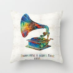 colorful phonograph art by sharon cummings throw pillow by sharon cummings