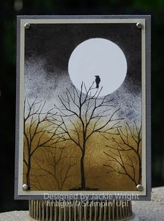 "By Jackie Wright. She used the SU stamp ""Branch Out,"" but you could use the tree from ""Sheltering Tree,"" also by Stampin' Up. Mask the moon, sponge the background, stamp the trees and bird."