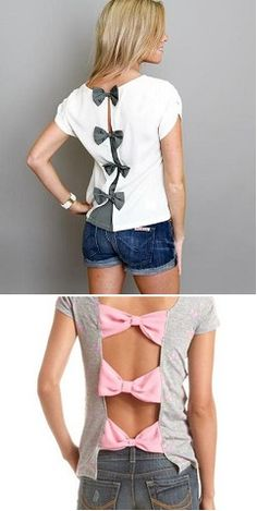 Diy t shirts 584905070324600108 - How to Make Bow Back T-shirt – DIY Tutorial Source by Shirt Refashion, T Shirt Diy, Clothes Refashion, Old T Shirts, Cut Shirts, Band Shirts, Clothes Crafts, Sewing Clothes, Crochet Clothes