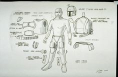 Early Boba Fett concept art by Joe Johnston.