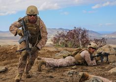 #Marine with Company A, 1st Reconnaissance Battalion, 1st Marine Division, displaces from his team formation to find a more advantageous shooting position on the firing line during a rocket shoot and fire team assault training exercise aboard Marine Corps Base Camp Pendleton.  #USMC