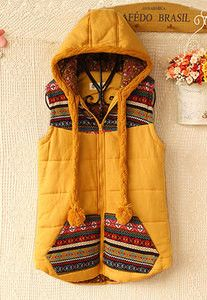 Folk Style Floral Print Hooded Vest - LOVE THIS! Would be perfect for Chinooky days.