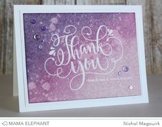 Check out all the cards Nichol made with this beautiful new stamp from Mama Elephant! Thank You Greeting Cards, Custom Thank You Cards, Diy Cards, Handmade Cards, Thank You Wishes, Mama Elephant Stamps, Appreciation Cards, Doodle Lettering, Watercolor Cards