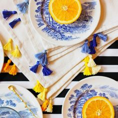 Update your plain old napkins with a colorful trim of easy-to-make tassels!