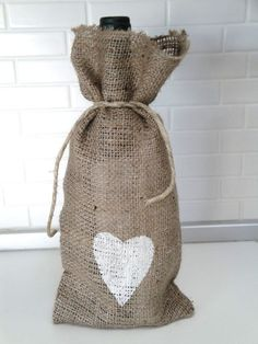 Burlap Wine Bag with White Heart Wedding Favor by MirtilloShop