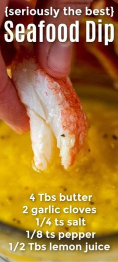 You ll love this dip for crab legs lobster shrimp and even poured over fish like salmon It is easy and excellent A seafood sauce that you will make over and over again This flavored garlic butter is such a treat for Valentine s Day or any occasion really Seafood Dip, Seafood Dinner, Fish And Seafood, Seafood Appetizers, Seafood Boil Party Ideas, Sauce Recipes, Fish Recipes, Appetizer Recipes, Cooking Recipes