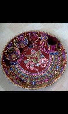 Diy aarti thali decoration with wheat flour old cd 39 s and for Aarti thali decoration with grains