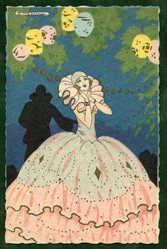 Artist signed MESCHINI pochoir Art Deco postcard UNUSED Pierrot Columbine