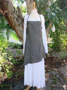 Annalee Linen Apron - charcoal gray cloth apron. $68.00, via Etsy. - Love asymmetry