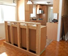 kitchens with island bar | The breakfast bar island, under construction.