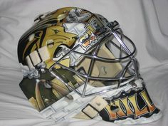 Awesome Lion paint job and St. Louis City skyline on this Lindenwood University Goalie Mask.