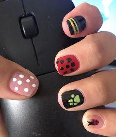 Simple Acrylic Nails, Simple Nails, Ladybug Nails, Anime Nails, Cat Nails, Best Nail Art Designs, Pretty Nail Art, Stylish Nails, Nail Arts