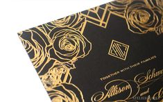 This floral Art Deco wedding invitation was perfect for a Gatsby inspired wedding at Oheka Castle. Art Deco Wedding Invitations, Wedding Invitation Design, Fine Stationery, Luxe Wedding, Black Paper, Floral Design, Wedding Inspiration, Rose, Prints