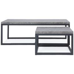 Lot de 2 tables basses ODENSE coloris effet béton Laissez vous séduire par ce lot de 2 tables basses rectangle ODENSE au look ultra tendance. Elles s'inspirent de l'air du temps avec son design actuel qui réveillera votre intérieur. Le piétement noir carbone et le plateau effet béton apporteront une touche très tendance dans votre salon. Odense, Console Extensible, Table Diy, Innovation Living, Dining Bench, Tables Basses, Furniture, Black, Home Decor
