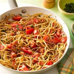 BLT Skillet Recipe -This quick weeknight meal reminds me of a BLT, with its chunks of bacon and tomato. The whole wheat linguine gives the skillet dish extra flavor and texture. —Edrie O'Brien, Denver, Colorado