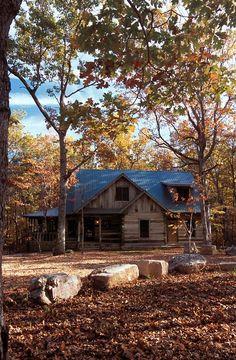 Weathered log cabin