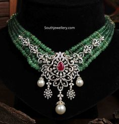 Emerald beads necklace with peacock diamond pendant photo Bead Jewellery, Beaded Jewelry, Beaded Necklace, Jewellery Designs, Chocker Necklace, Gemstone Jewelry, Earrings, Jewelry Necklaces, Diamond Necklace Set