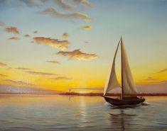 Sailboat painting sunset seascape original oil