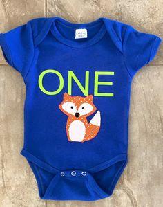 fox birthday onesie. first birthday onesie. by SewingSweetsbySara