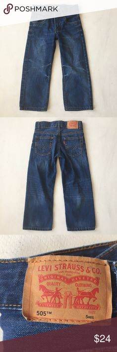 Levi's 505 Jeans Boys  Regular Straight Blue Denim Levi's 505 Jeans Boys Kids Toddler Size 5 Regular Straight Blue Denim  A0414kt10  Very good condition Levi's Bottoms Jeans