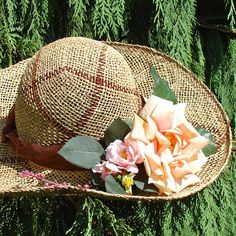 Items similar to Hand Made Plaid Sea Grass Straw Hat with Peach Rose and Pink Wild Roses Made in Michigan for sale at the Ann Arbor Farmers Market on Etsy Cumbria, Hat Boxes, Flower Hats, Picnic In The Park, Love Hat, Cute Hats, Oui Oui, Summer Hats, Derby Hats