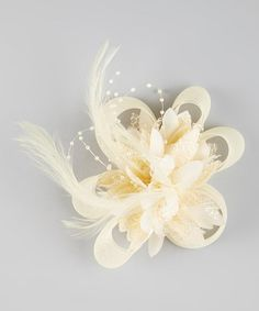 Look what I found on #zulily! White Feather Flower Bow Clip by Wenchoice #zulilyfinds