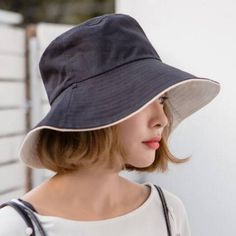 9e137632 Reversible bucket hat for women cotton travel package sun hats UV protection