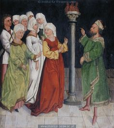 """The seven women are forced into idolatry"" by a Swabian painter, 1480-90"