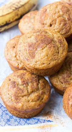 One Bowl Cinnamon Banana Bread Muffins! Fast and easy to make, freezer-friendly, perfect for food prep! Plus, they're whole wheat, refined sugar free and healthy! | www.kristineskitchenblog.com