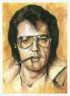 Elvis Presley - Watercolor and ink - Portrait by NateMichaels on DeviantArt