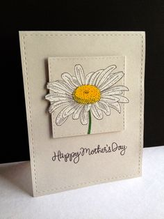 Soft colors and faux stitching allow the white and yellow daisy to take center stage on this handmade Mother's day card.  Great use of Prismacolor pencils and Gamsol.