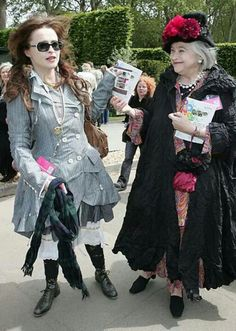 Helena Bonham Carter and her mum