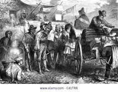 events, 3rd Carlist War 1872 - 1876, travellers are checked at a Carlist sentry post, contemporary wood engraving,  Spain, Repub Stock Photo
