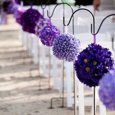 Aisle marker. Purple Flower Pomanders #Wedding aisle, #hawaii