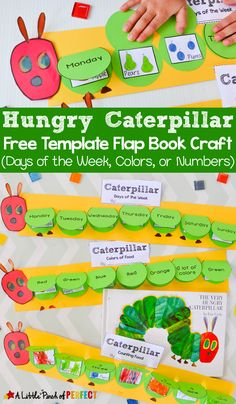 Hungry Caterpillar Flap Book Craft and Free Template: 3 craft templates for kids to practice the days of the week counting to 5 or naming colors. (Preschool Kindergarten First Grade Spring Bugs Book Extension) Kindergarten Activities, Toddler Activities, Preschool Activities, Book Activities, Days Of The Week Activities, Kindergarten First Week, Elderly Activities, Dementia Activities, Eric Carle